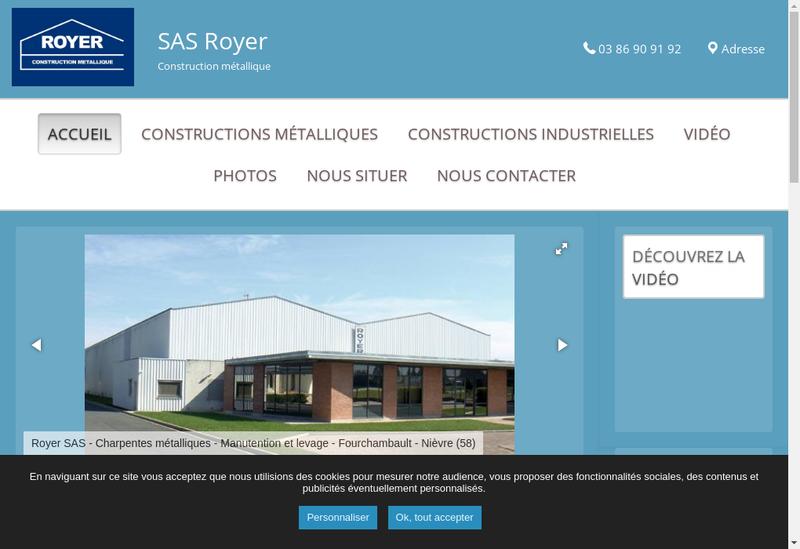 Capture d'écran du site de Royer SAS