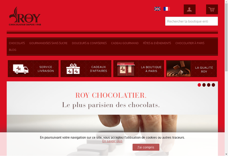 Capture d'écran du site de Roy Chocolatier