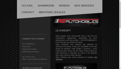 Capture d'écran du site de Rs Automobiles