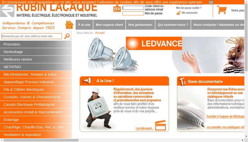 Capture d'écran du site de SA Rubin Lacaque