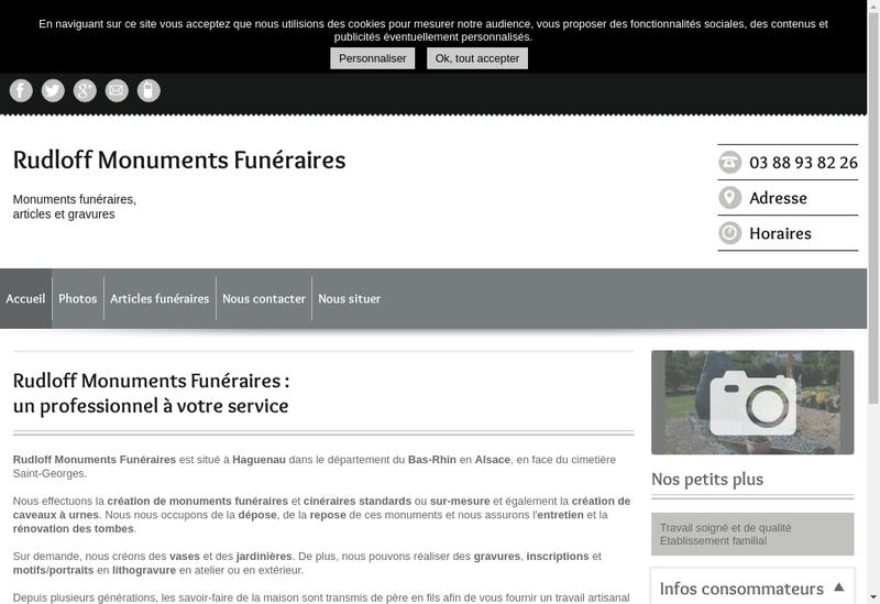 Capture d'écran du site de Monuments Funeraires Francois Rudloff