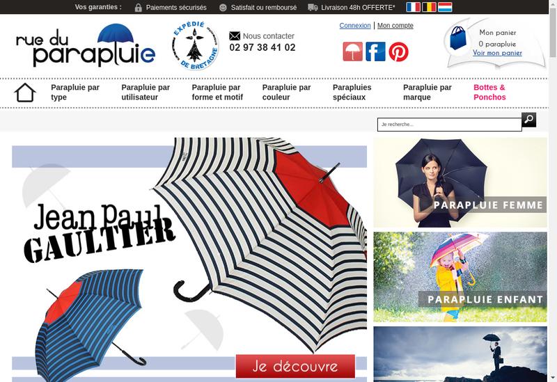 Capture d'écran du site de Rue du Parapluie