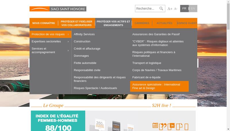Capture d'écran du site de Siaci Saint Honoré