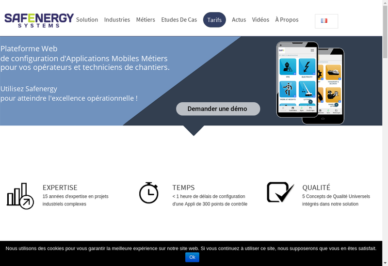 Capture d'écran du site de Safenergy