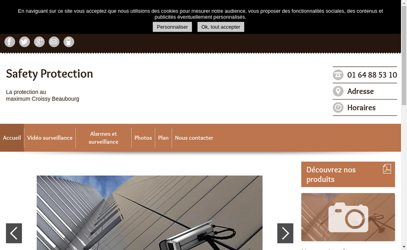 Capture d'écran du site de Safety Protection
