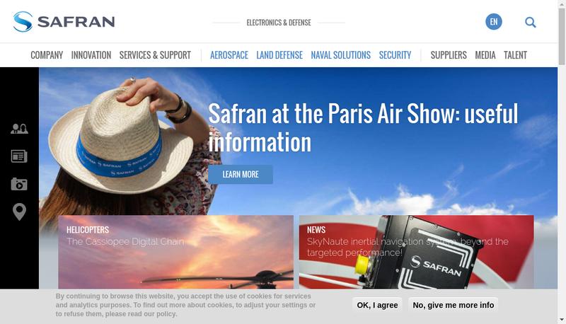 Capture d'écran du site de Safran Electronics & Defense