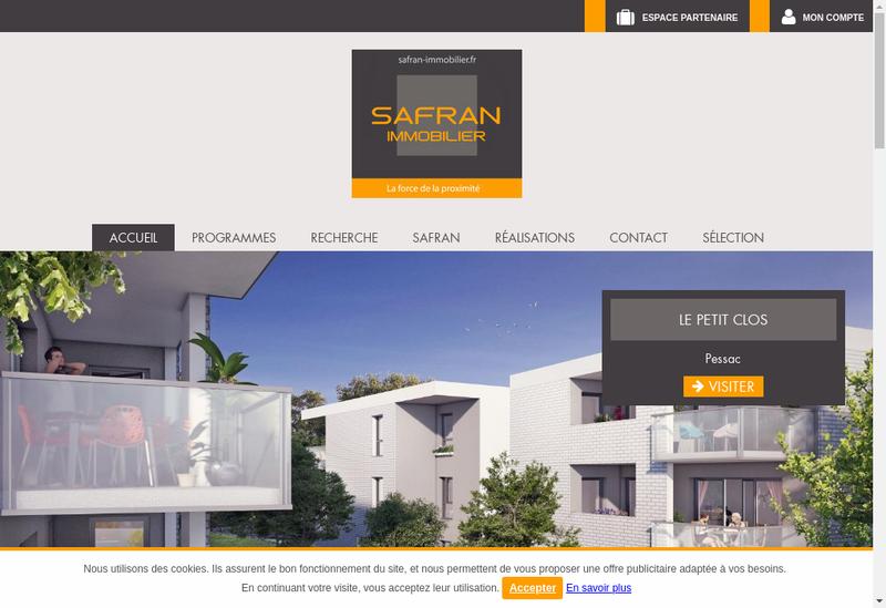 Capture d'écran du site de Safran Immobilier
