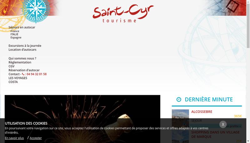 Capture d'écran du site de Saint Cyr Tourisme