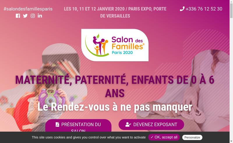 Capture d'écran du site de Salon des Familles