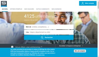 Capture d'écran du site de Samsic Interim