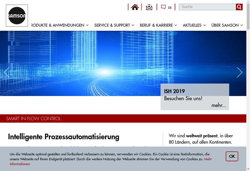 Capture d'écran du site de Samson Regulation SA
