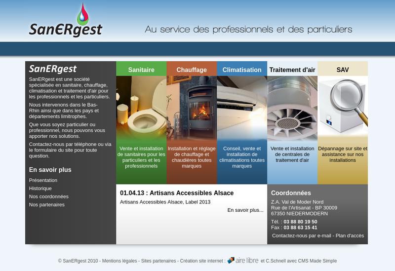 Capture d'écran du site de Sanergest