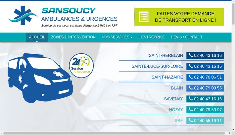 Capture d'écran du site de Ambulances Sansoucy