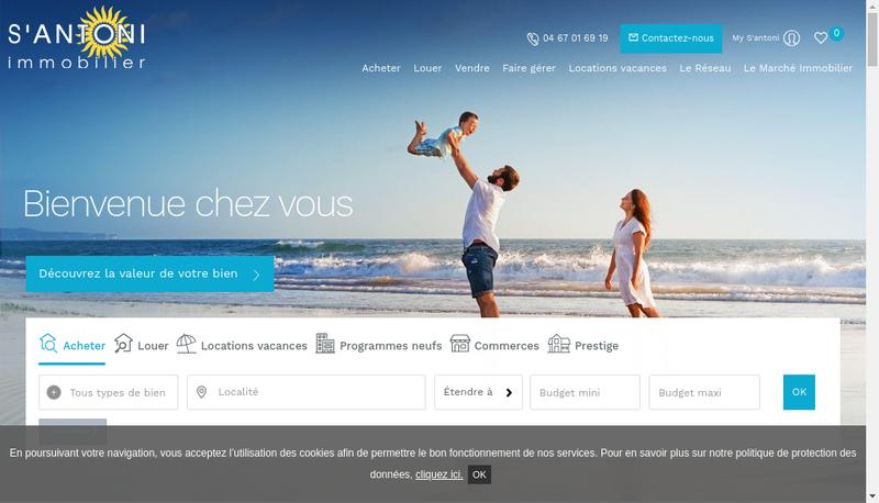 Capture d'écran du site de S'Antoni Immobilier