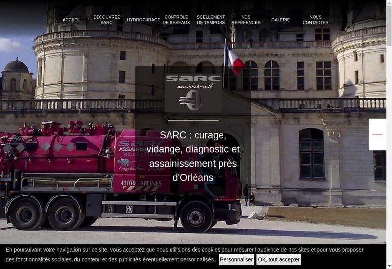 Capture d'écran du site de Sarc Assainissement