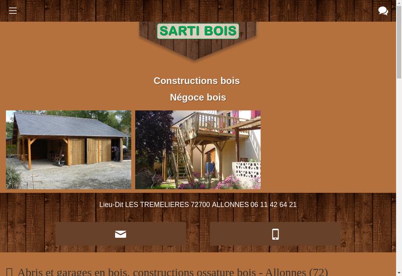 Capture d'écran du site de Sarti Bois