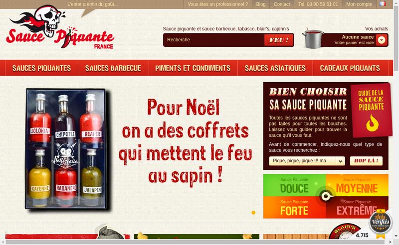 Capture d'écran du site de Sauce Piquante France