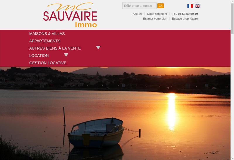 Capture d'écran du site de MC Sauvaire Immobilier