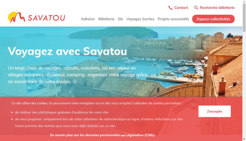 Capture d'écran du site de Savoie Vacances Tourisme