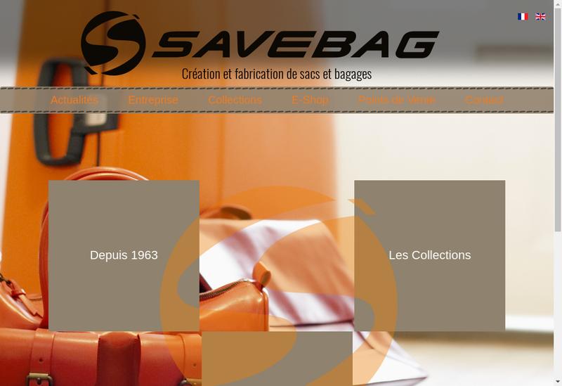 Capture d'écran du site de SAVEBAG