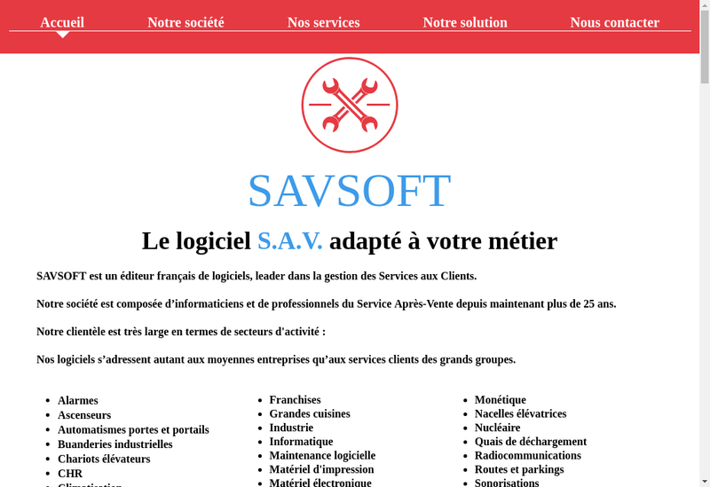 Capture d'écran du site de Savsoft