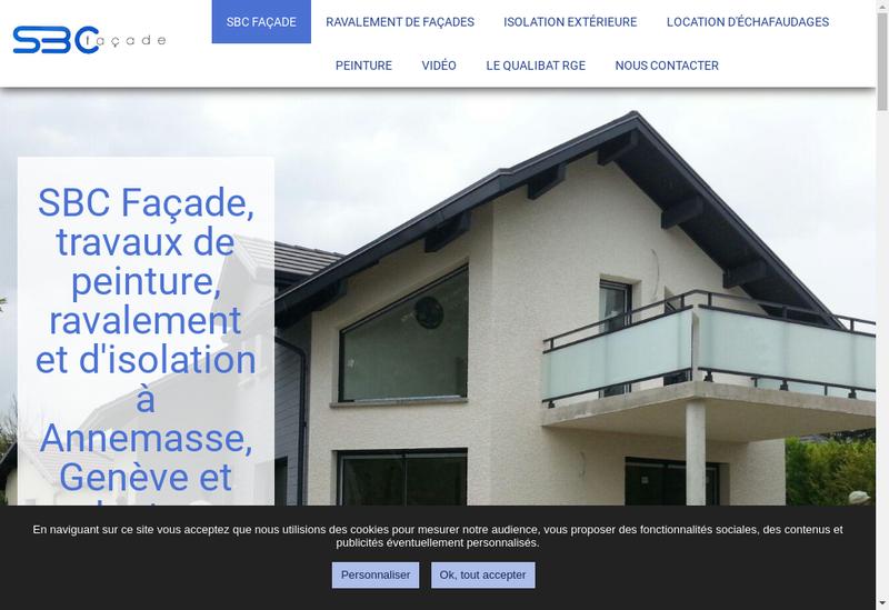 Capture d'écran du site de Sbc Facade