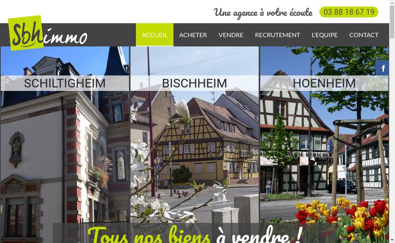 Capture d'écran du site de Sbh Immo