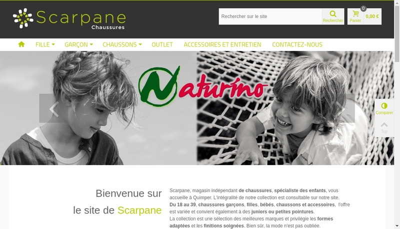 Capture d'écran du site de Scarpane