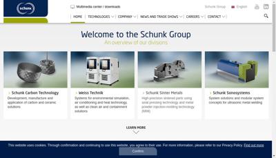 Capture d'écran du site de Schunk Carbon Technology