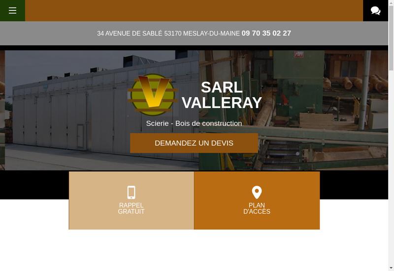 Capture d'écran du site de Etablissements Valleray