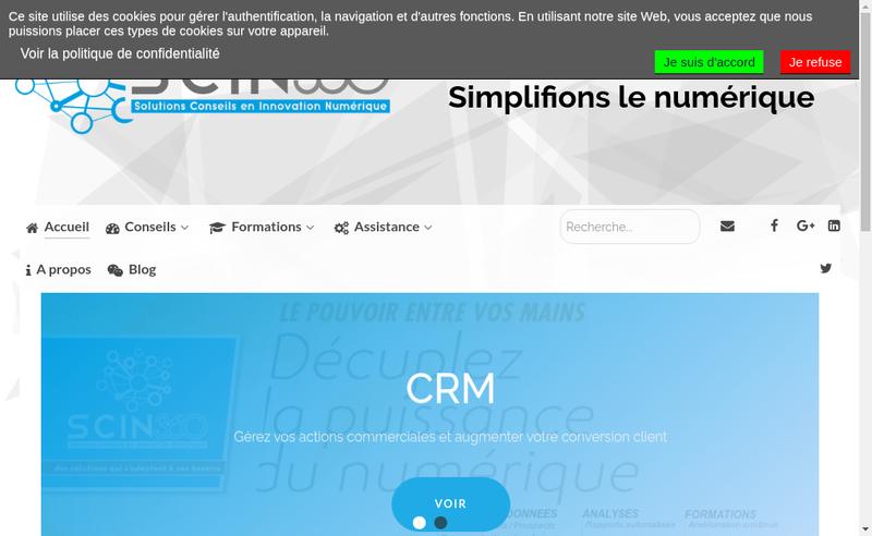 Capture d'écran du site de Solutions Conseils en Innovation Numerique (Scin)
