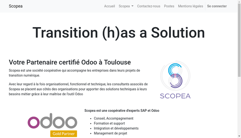 Capture d'écran du site de Scopea