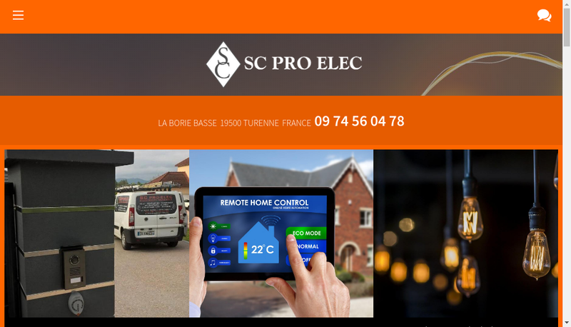 Capture d'écran du site de Sc Pro Elec