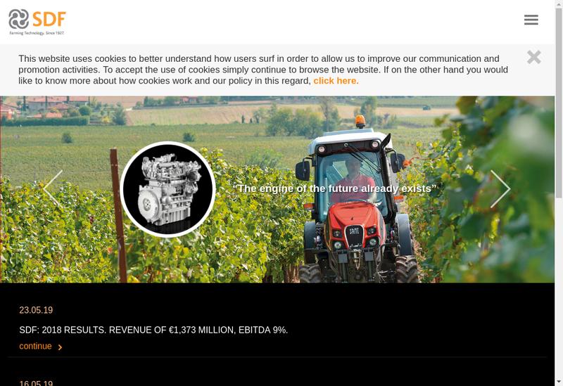 Capture d'écran du site de Same Deutz-Fahr Lamborghini