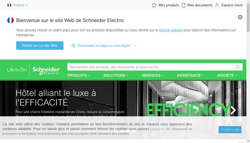 Capture d'écran du site de Schneider Electric International