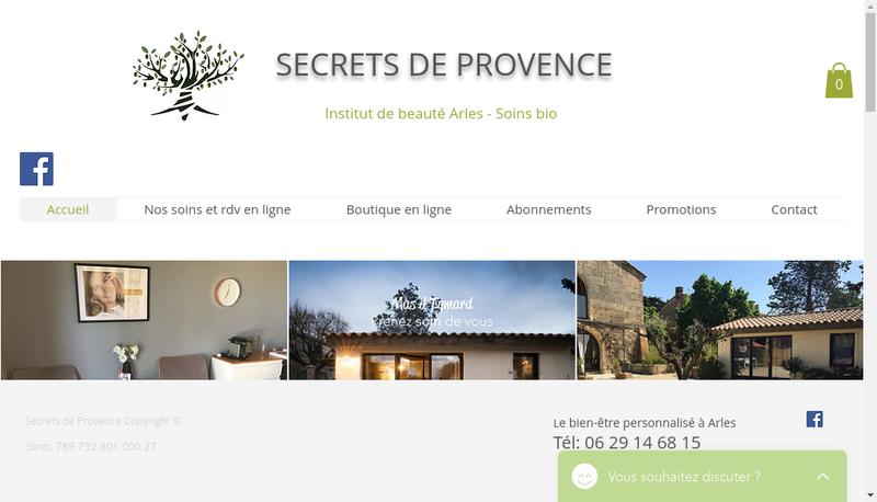 Capture d'écran du site de Secrets de Provence