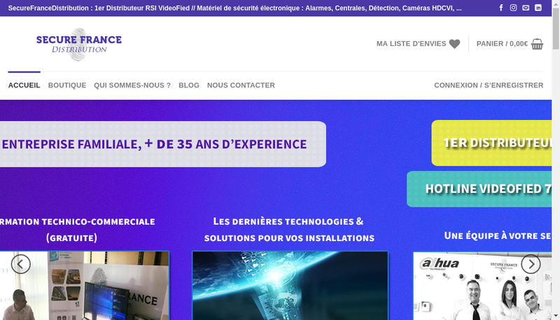Capture d'écran du site de Secure France Distribution