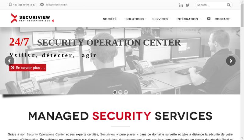 Capture d'écran du site de Securiview