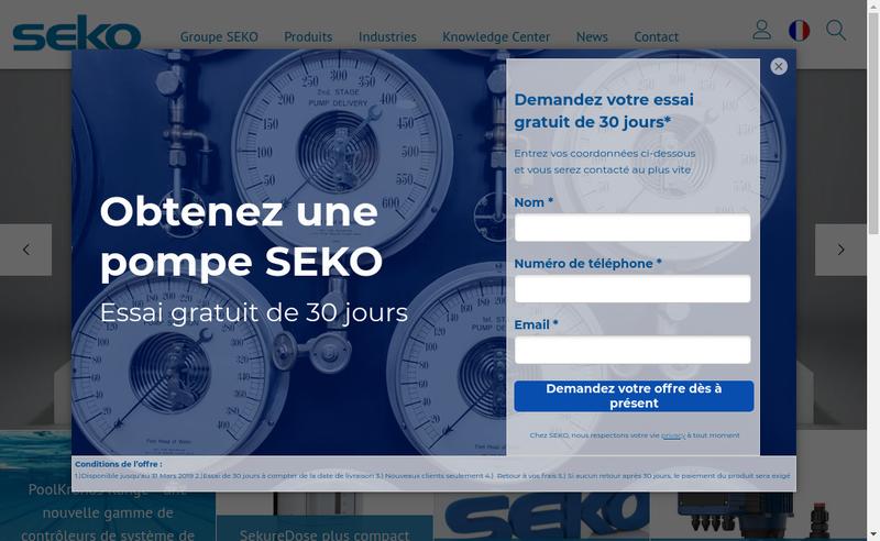 Capture d'écran du site de Seko