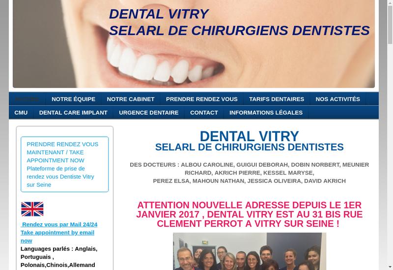 Capture d'écran du site de Dental Vitry SELARL Chirurg Dentistes