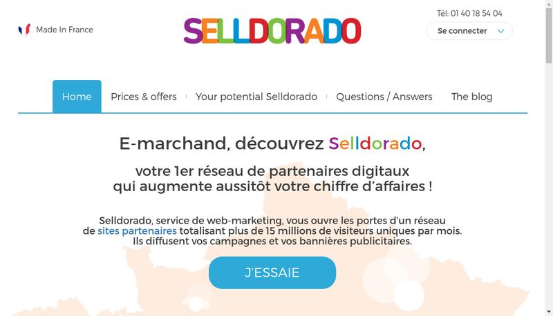 Capture d'écran du site de Selldorado