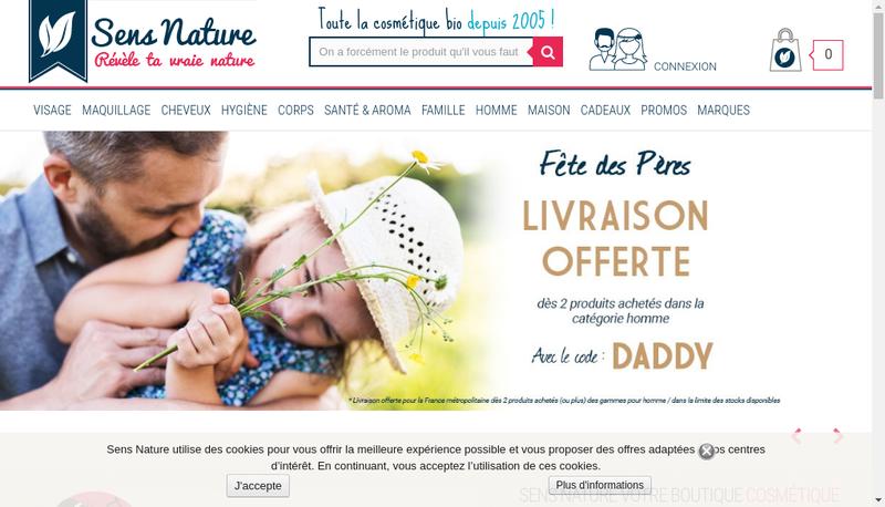 Capture d'écran du site de Sens Nature