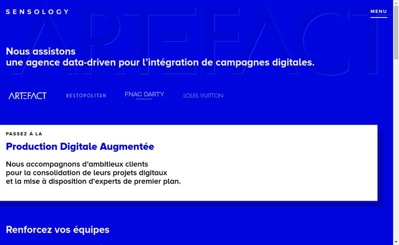 Capture d'écran du site de Sensology