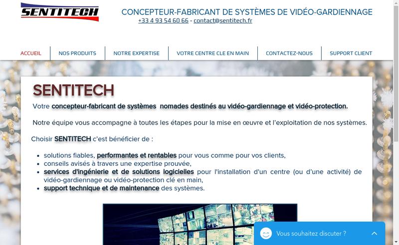 Capture d'écran du site de Sentitech