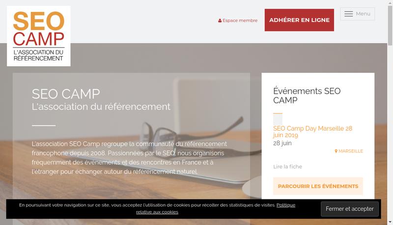 Capture d'écran du site de Seo Camp