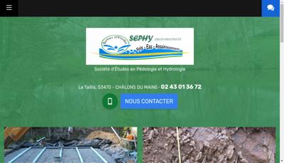 Capture d'écran du site de Sephy Environnement