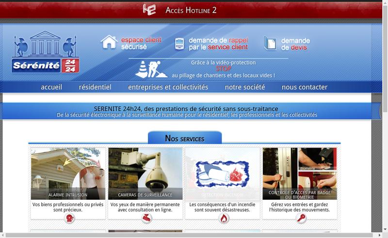 Capture d'écran du site de Serenite 24H24