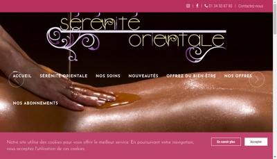 Capture d'écran du site de Serenite Orientale