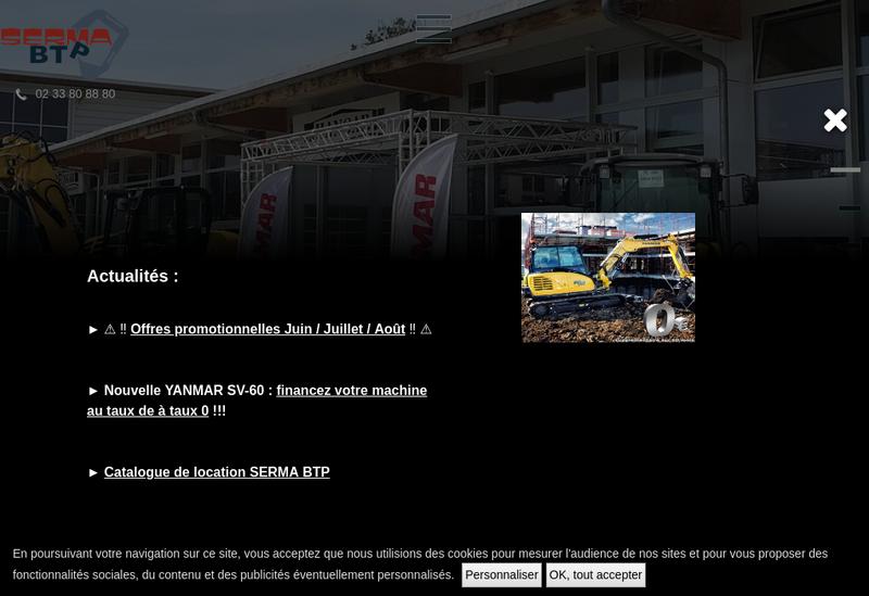 Capture d'écran du site de Serma Btp