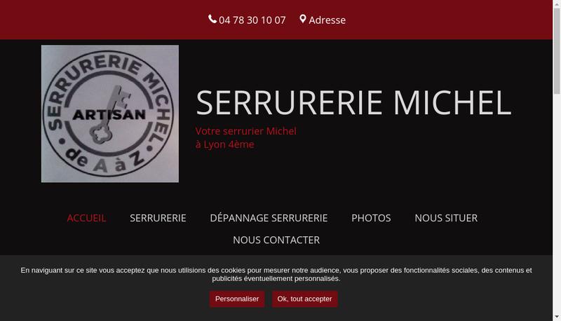 Capture d'écran du site de Serrurerie Michel